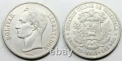 Venezuela 1921 Libertador 5 Bolivares Moneda Plata Ebc