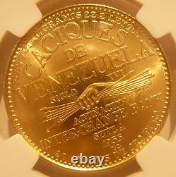 Venezuela 1955 Gold 60 Bolivares NGC MS65 Chiefs Series Naiguata