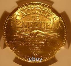 Venezuela 1955 Gold 60 Bolivares NGC MS66 Chiefs Series Guaicamacuto