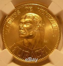Venezuela 1955 Gold 60 Bolivares NGC MS67 Chiefs Series Murachi