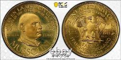 Venezuela 1957 Gold 60 Bolívares Chiefs of Second World War Mussolini PCGS MS68