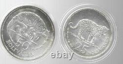 Venezuela 1975 25 & 50 Bolivares 2 Sterling Silver Coins KM-Y46&47 Gem BU Cased