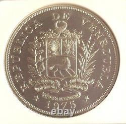 Venezuela 1975 Silver 50 Bolivares Giant Armadillo Wildlife NGC MS65