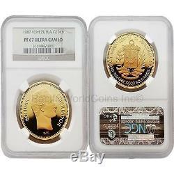 Venezuela 1987 10,000 Bolivares Gold NGC PF67 ULTRA CAMEO