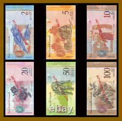 Venezuela 2-100 Bolivares (6 Pcs Full Set), 2007-2015 P-88s-93s Specimen Unc