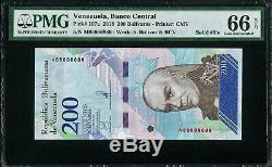 Venezuela 200 Bolivares 2018 SOLID Serial 88888888 Pick-107a GEM UNC PMG 66 EPQ