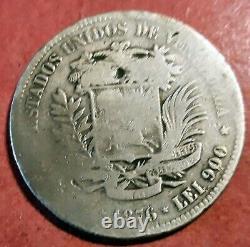 Venezuela 5 Bolivares 1876 A (Paris) Plata Fuerte de Simon Bolivar @ Bella @