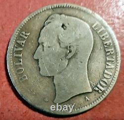 Venezuela 5 Bolivares 1876 A (Paris) Silber Stark Von Simon Bolivar @ Bella @