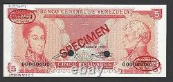 Venezuela 5 Bolivares 21-9-1989 P70s Specimen TDLR N2 Uncirculated