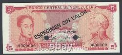 Venezuela 5 Bolivares 22-6-1971 P50es Specimen Uncirculated