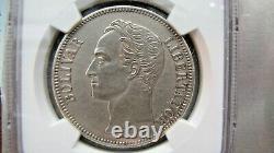 Venezuela 5 Bolivars 1886 (Second 8 low) NGC UNC. Details. Very rare grade