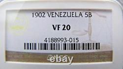Venezuela 5 Bolivars 1902 NGC VF 20. Nicely toned and strong features