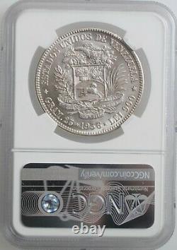 Venezuela 5 bolivares 1936, MS62, United States of Venezuela (1879 1952)