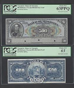 Venezuela 500 Bolivares (1916-1921) PS298s Face and Back Proof Uncirculated