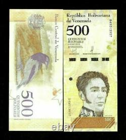 Venezuela 500 Bolivares New 2018 X 100 Pcs Lot 1 Bundle Soberanos Unc Bird Note