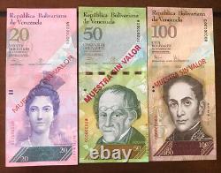 Venezuela (6)Muestra Banknotes 2/5/10/20/50/100 Bolivares Unc