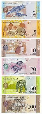 Venezuela 6 Pcs X 100 Sets 2 100 Bolivares 2007-2015 P-88 89 90 91 92 93 Unc