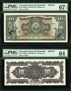 Venezuela Banco de Maracaibo 10 Bolivares PMG 67 EPQ 1925-35 Front & Back Proofs