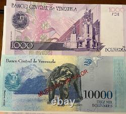 Venezuela Bolivares Currency Lot 5 Notes MUESTRAS -specimenes Uncirculated