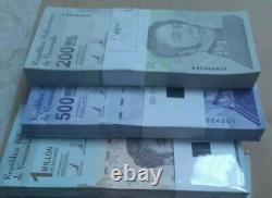 Venezuela Bolivares SET 3 Packs (300 PCS) 1 Each 200k, 500k & 1 Million New Unc