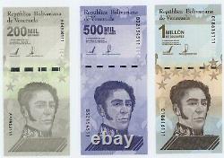 Venezuela Bundle Of 3 Notes 200000, 500000 & 1000000 Million Bolivares 2020 NEW