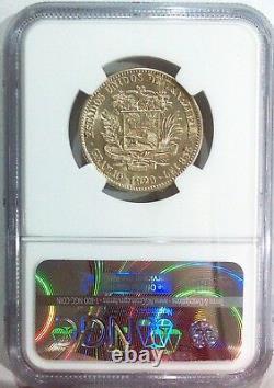 Venezuela Gram 10, 2 Bolivares 1929 AU 55 Graded NGC. Scarce coin Km Y-23