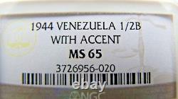 Venezuela Half Bolivar 1944 (with accent) NGC MS65. Superb toning