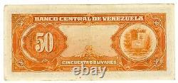 Venezuela. P-33c. 50 Bolivares. March-11-1960. VF-XF Prefix H1
