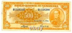 Venezuela. P-37b. 500 Bolivares. Nov-8-1956.  VF. Prefix B1