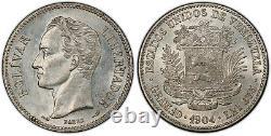 Venezuela Republic 2 Bolivares 1904 PCGS MS61 High Grade Beautiful coin scarce