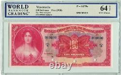 Venezuela S179s Specimen 100 Bolivares 1928, WBG 64 UNC Choice TOP