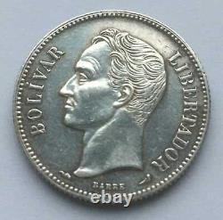 Venezuela Silver Coin 2 Bolivares 1904 (Small 0, Small 4) XF VERY RARE