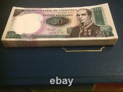 Venezuela bundle 100 pcs commemorative 1987 urdaneta 20 bolivar banknote UNC con