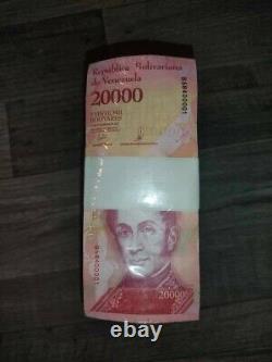 1 Brick De 20 000 Bsf. 1 000 Pièces Banques Bolivares Fuertes Unc Venezuela