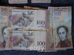 10 Bündel 1000 Stück Banknoten Zu 100 Bolivar Venezuela Gebraucht, Jahrg. 2015