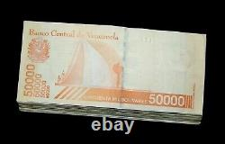 100 Pcs X Venezuela 50000 Bolivars Billets D'émission-2019 Circulated Package