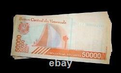 100 Pcs X Venezuela 50000 Bolivars Billets D'émission-2019 Uncirculated