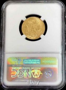 1875 A Gold Venezuela 5 Venezolanos Simon Bolivar Coin Ngc À Propos De Non Circulé 53