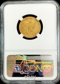 1875 A Gold Venezuela 5 Venezolanos Simon Bolivar Coin Ngc About Uncirculated 53