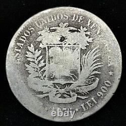 1876 A Venezuela 5 Bolivares (25 Gram). 900 Pièces D'argent Y#16 Peur! #2