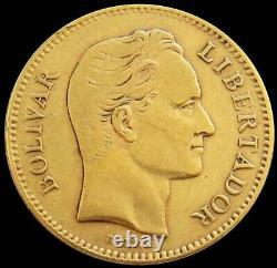 1880 Or Venezuela 20 Bolivares 6.4516 Grammes Simon Bolivar Coin Early Date