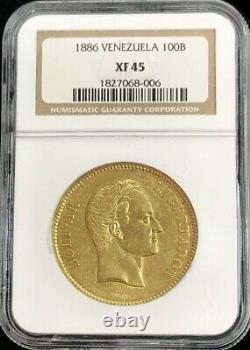 1886 Or Venezuela 100 Bolivars Simon Bolivar Pièce Extrêmement Fine 45 Date Clé