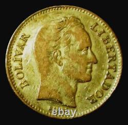 1886 Or Venezuela 20 Bolivares Pièce Très Bel État