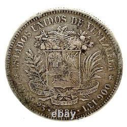 1886- Venezuela 5 Bolivares (25 Gram). 900 Pièces D'argent #1 Y#24.1