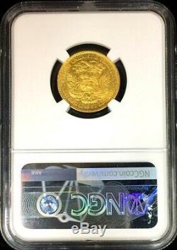 1887 Or Venezuela 20 Bolivars Simon Bolivar Coin Ngc Prachtig 40