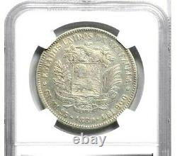 1889 Venezuela 5 Bolivares, Ngc Xf Détails Nettoyés, Km Y24.1, Date Très Rare