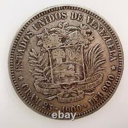 1900 Venezuela 5 Bolivares (25 Grammes). Pièce D'argent 900 #2 Y#24.2