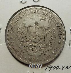 1900 Venezuela 5 Bolivariennes Gram 25 Pièces D'argent
