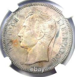 1900 Venezuela Republic 2 Bolivares Coin 2b Ngc Uncirculated Details (unc Ms)