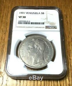 1901 Venezuela 5 Argent Bolivars Ngc Vf 30 Date Scarce Lustrée Classée Dans Une Catégorie Key